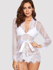 Eyelash Lace Trim Robe With Thong