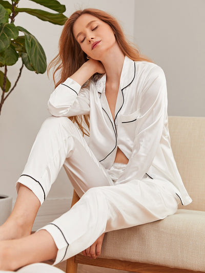 Contrast Binding Pocket Front Pajama Set