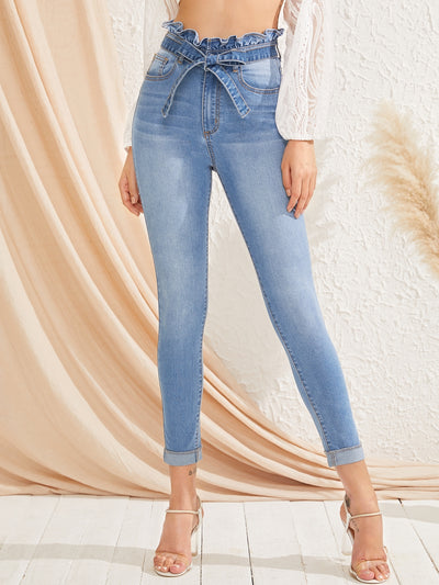 Bleach Wash High-Waisted High Stretch Skinny Jeans