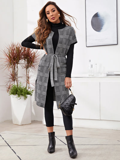 Batwing Sleeve Houndstooth Pattern Belted Cardigan
