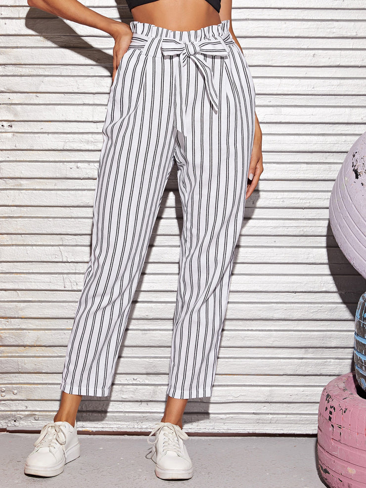 Tied Paperbag Waist Striped Pants