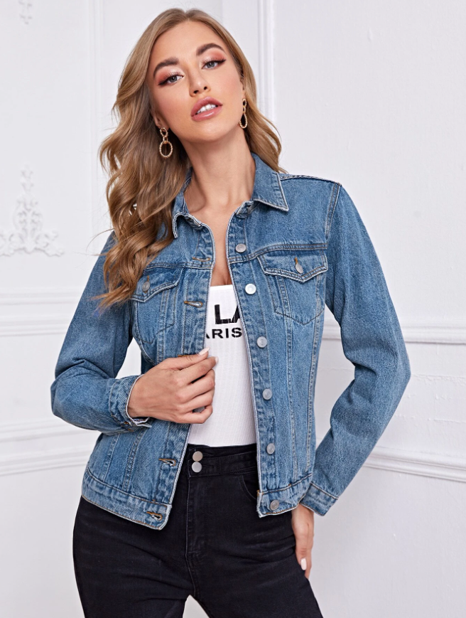 Button Front Patch Pocket Denim Jacket