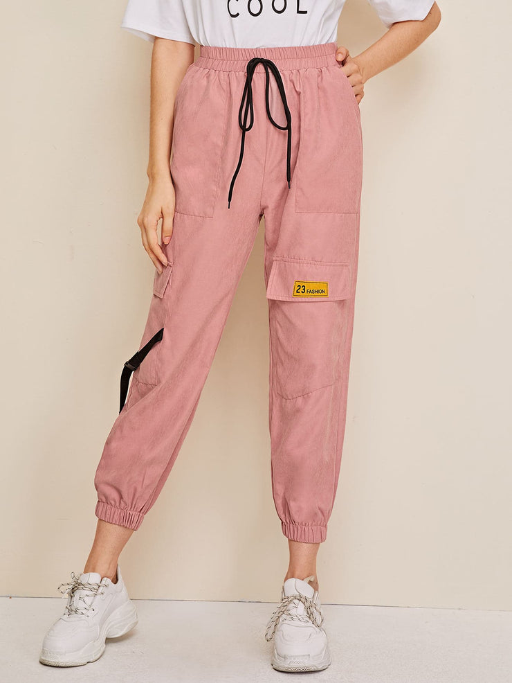 Pocket Patched Buckle Drawstring Cargo Pants