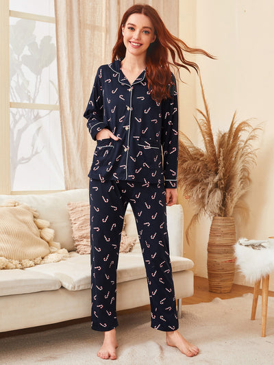 All Over Print Button Front Contrast Binding Lapel Collar PJ Set