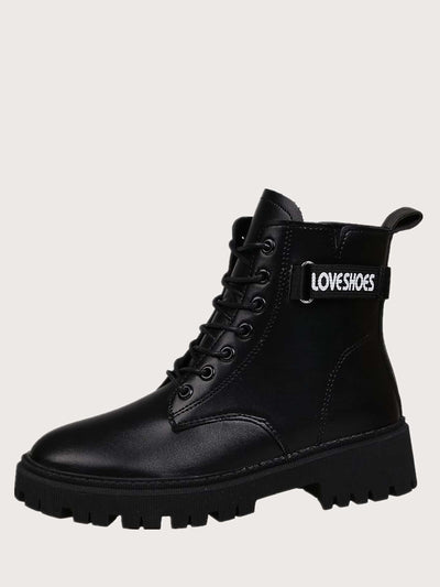 Letter Graphic Lace-up Combat Boots