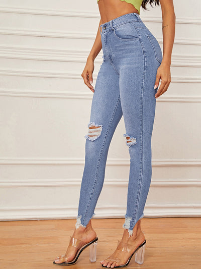 High Waist High Stretch Raw Hem Skinny Jeans