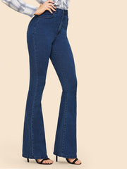 High Waisted Flare Hem Skinny Jeans