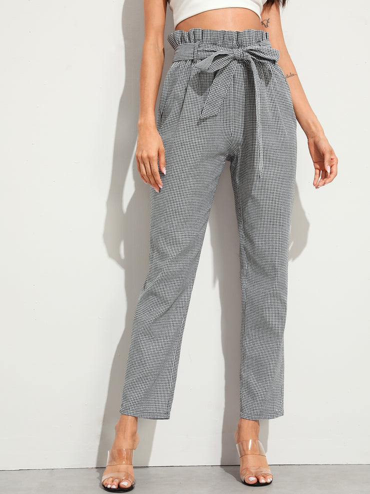 Paperbag Waist Self Belted Tapered Gingham Pants