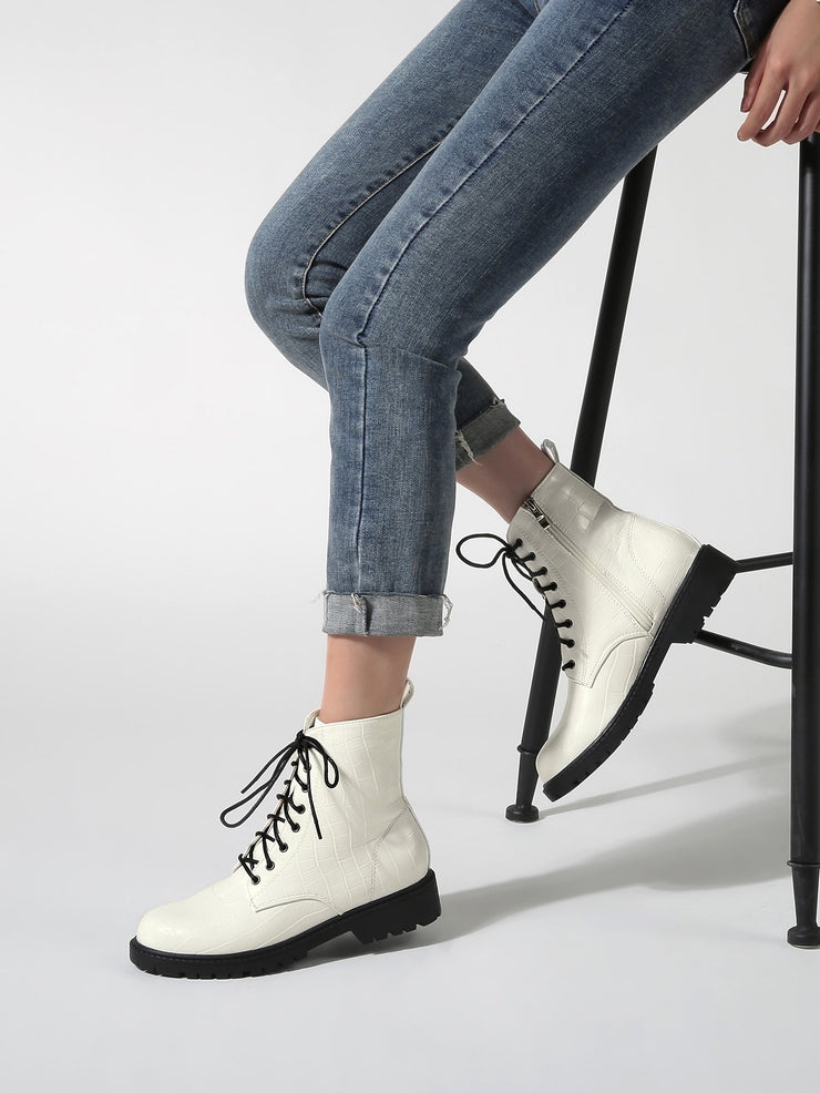 Croc Embossed Lace-up Front Combat Boots