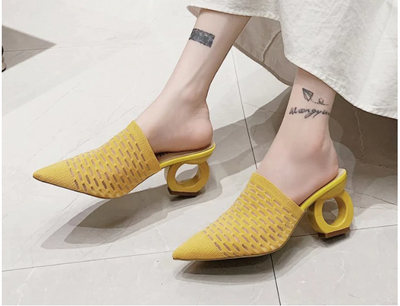 LazySea 7cm Fretwork Heels Pointed Toe Slippers Women Shoes Stretch Fabric Air Mesh Mules Flip Flop Slip On Slides Plus Size 43
