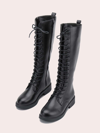 Minimalist Lace-up Front Block Boots