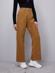 Pocket Patched Corduroy Straight Leg Pants