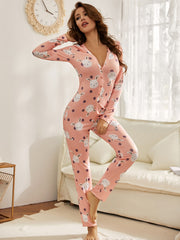 Cartoon And Polka Dot Print Button Front Sleep Jumpsuit