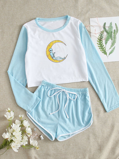 Alien Graphic Tee & Dolphin Shorts PJ Set