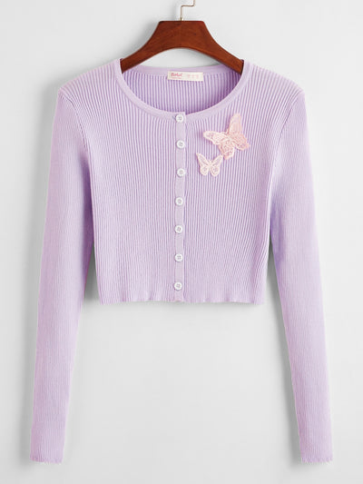 Butterfly Applique Button Front Cardigan