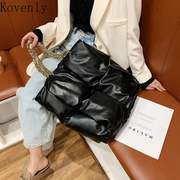 Tote Bags For Women Leather Weave Women Bag Brand Big Shopper Shoulder Bag Female Thick Chain Large Bread Bag Famous Handbag