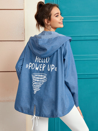 Letter Graphic Roll Up Sleeve Hooded Denim Coat