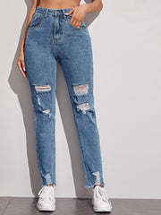 Ripped Raw Hem Washed Jeans