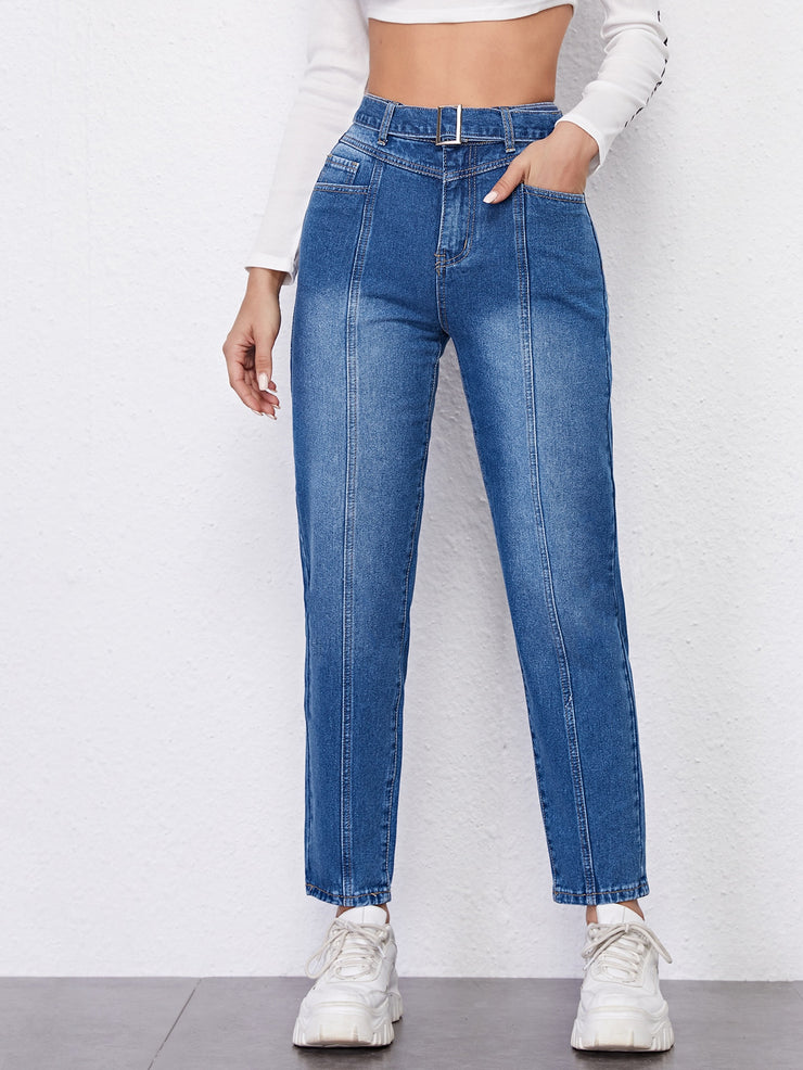 High Waist Belted Straight Leg Jeans