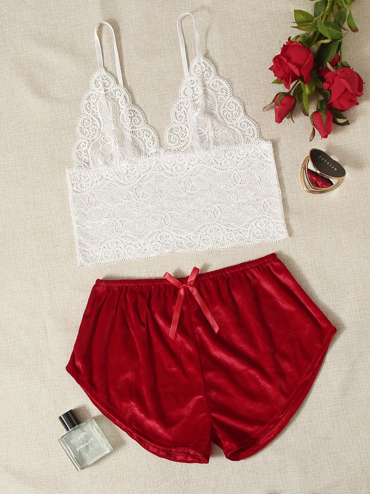 Floral Lace Bralette With Velvet Shorts