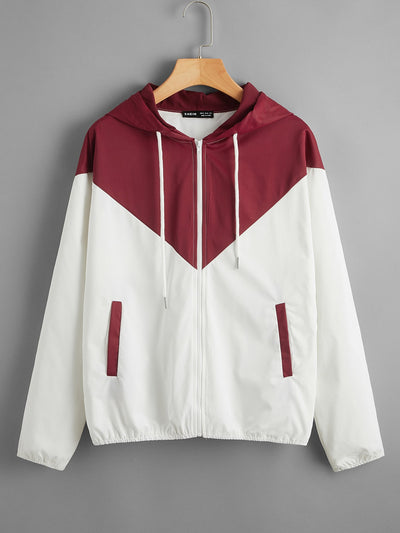 Zip Up Colorblock Drawstring Hooded Jacket