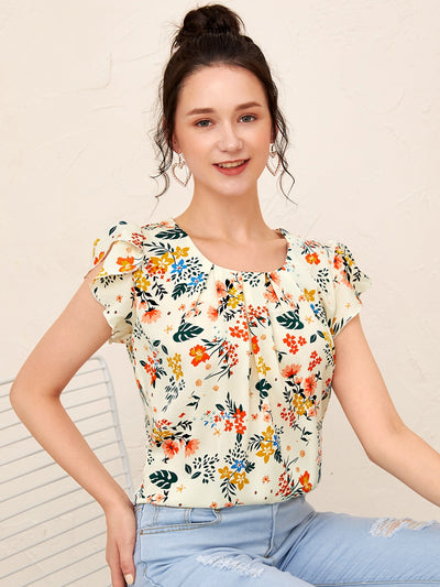 Butterfly Sleeve Floral Print Blouse