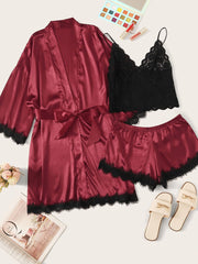 3pack Contrast Lace Satin Lingerie Set & Belted Robe