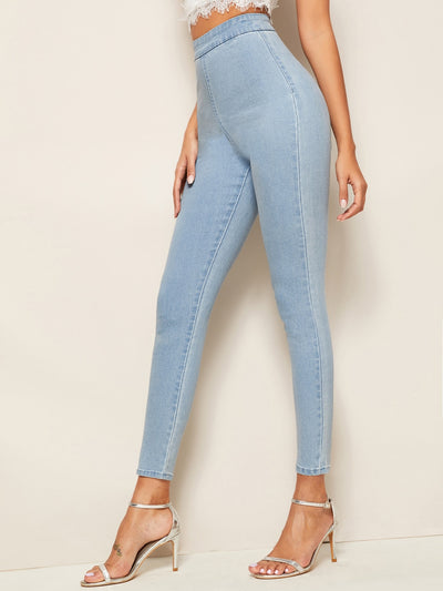Bleach Wash High-Waisted High Stretch Skinny Jeggings