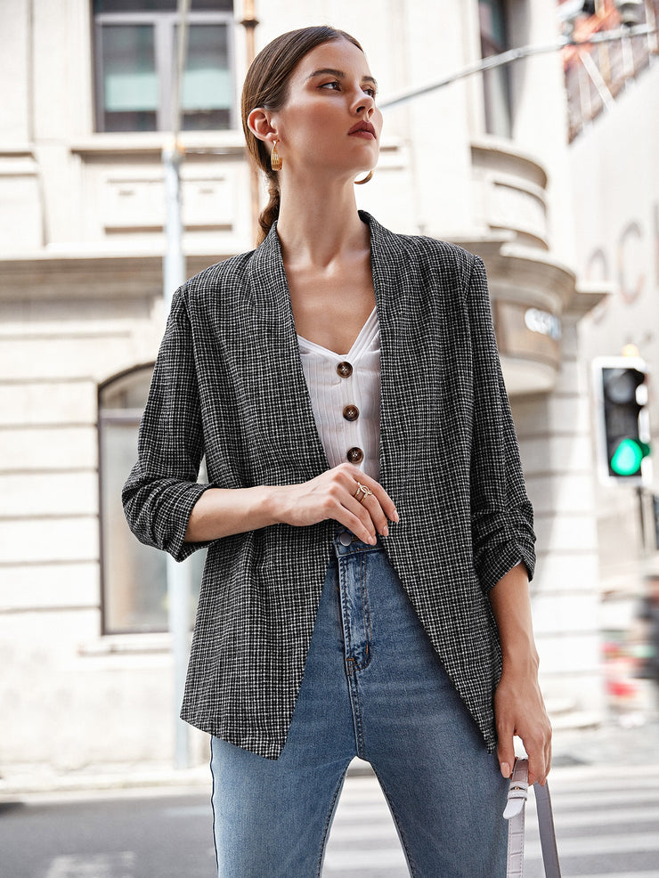 Ruched Detail Sleeve Open Front Tweed Blazer
