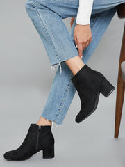Faux Suede Zip-Up Block Ankle Boots