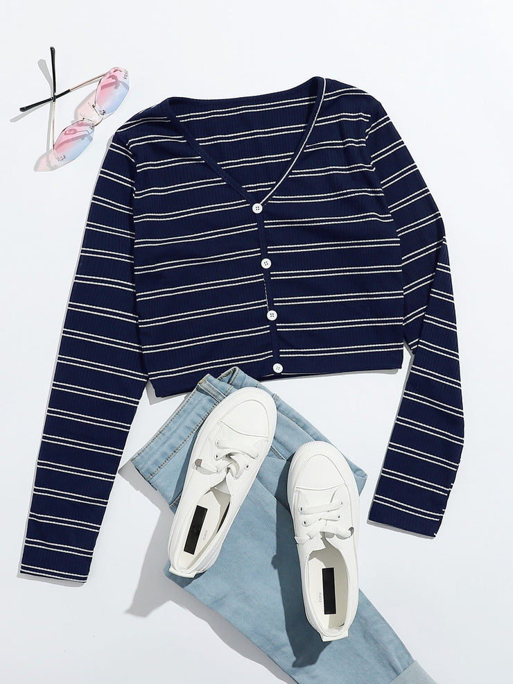 Striped Button Front Tee
