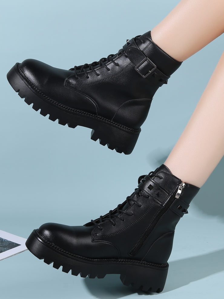 Studded & Buckle Decor Combat Boots