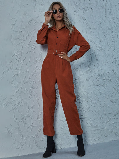 Solid Button Front Belted Corduroy Shirt Jumpsuit