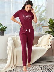 Butterfly Print Tee With Pants Lounge Set