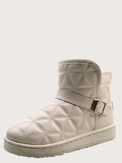 Buckle Decor Quilted Snow Boots