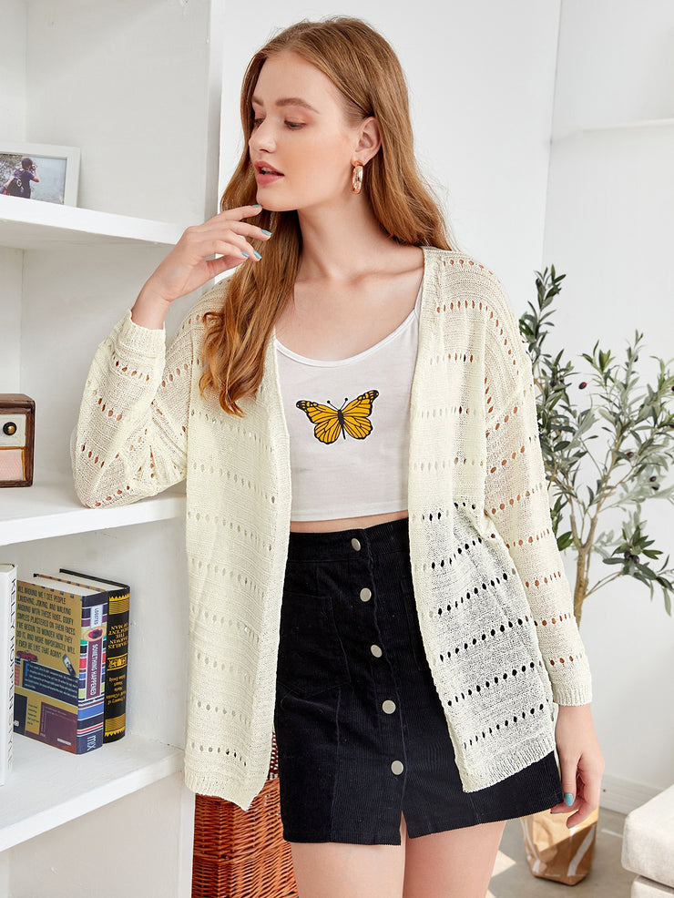 Pointelle Knit Open Front Cardigan