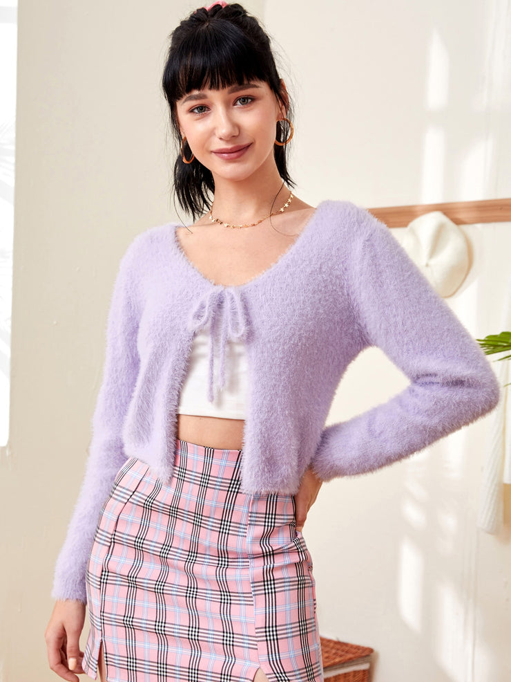 Tie Front Fluffy Knit Cardigan