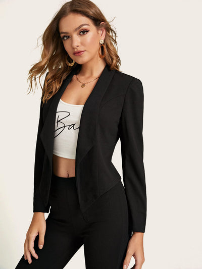 Solid Shawl Collar Slim Blazer