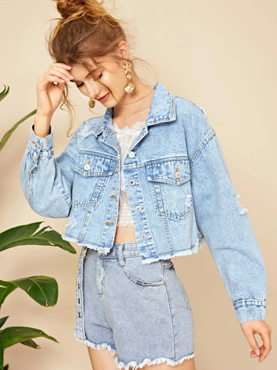 Distressed Button-Front Cropped Denim Jacket