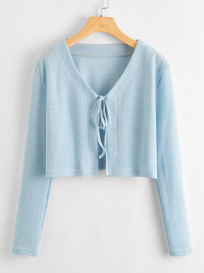 Tie Front Waffle Knit Cardigan