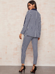 Notched Collar Double Breasted Houndstooth Blazer & Pants Set