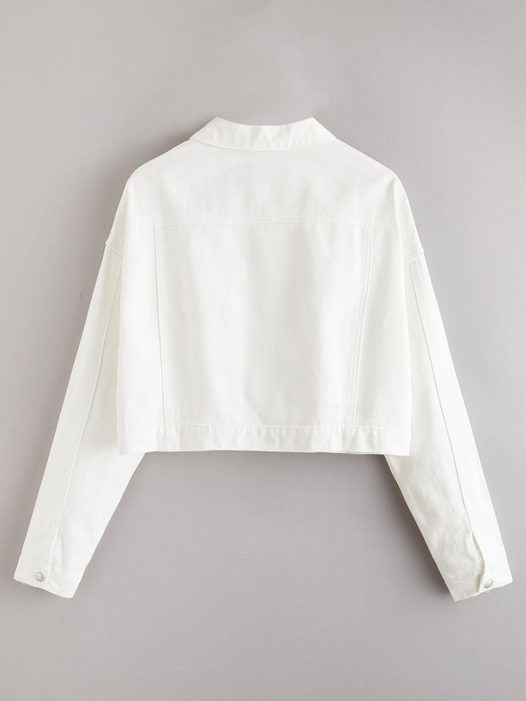 White Wash Button Front Crop Denim Jacket