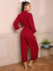 Gingham Print Half Placket Belted Sleep Jumpsuit