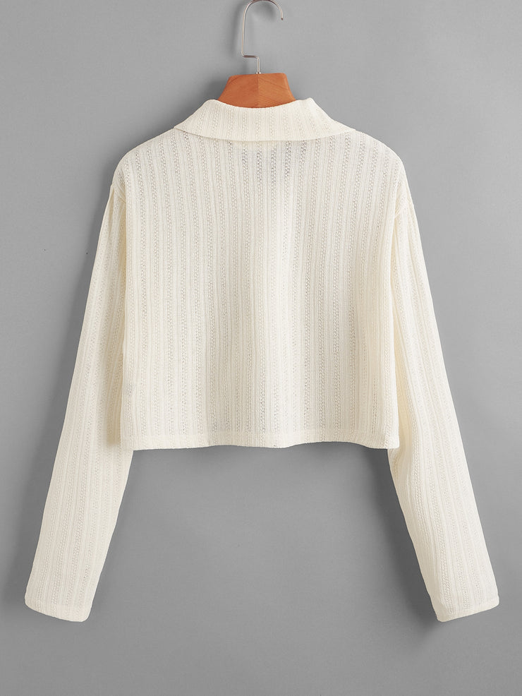 Pointelle Knit Zip Top