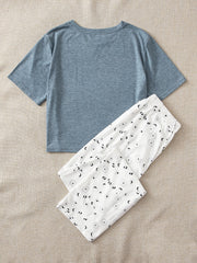 Slogan Print Tee & Pants PJ Set