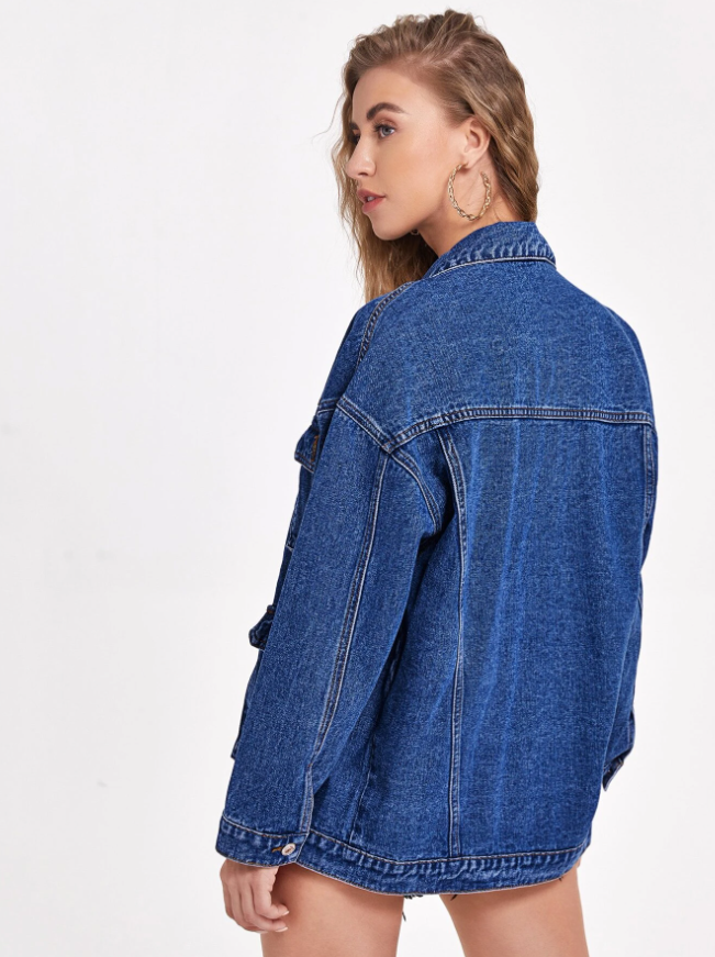 Flap Pocket Drop Shoulder Denim Jacket