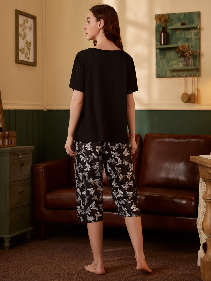 Tee With Butterfly Print Pants PJ Set