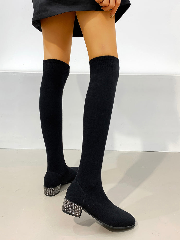 Rhinestone Chunky Heeled Over The Knee Sock Boots