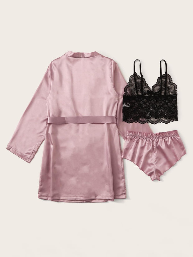 3pack Contrast Lace Lingerie Set With Belted Robe