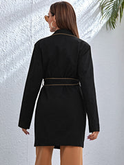 Contrast Binding Belted Patch Pocket Longline Blazer